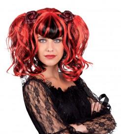 Damen Gothic-Perücke mit Zöpfen rot-schwarz