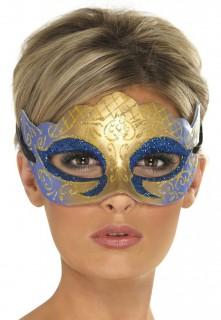 Venezianische Augenmaske Domino-Maske Glitzer blau-gold