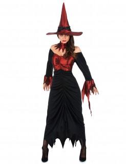 Verruchte Hexe Halloween Damenkostüm schwarz-bordeaux