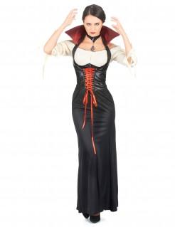 Anmutige Vampirin Halloween-Damenkostüm schwarz-weiss-rot
