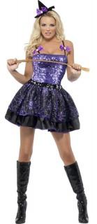 Glamour-Hexe Damenkostüm lila-schwarz
