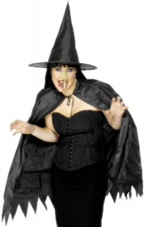 Hexe Kostüm-Set Halloween 3-teilig schwarz