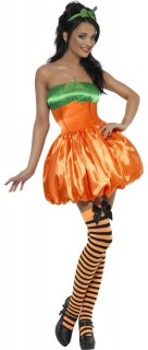 Süsser Kürbis Damenkostüm orangefarben-grün