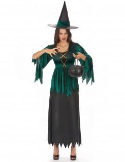 Magische Hexe Damenkostüm Märchen grün-schwarz