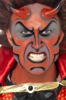 Teufel Make-Up Set mit Hörnern rot-schwarz