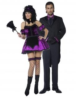 Butler und Zimmermädchen Paarkostüm Halloween schwarz-lila