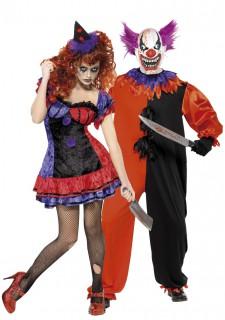 Schauriges Horrorclown Halloween Kostüm-Set für Paare bunt