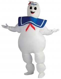 Aufblasbares Marshmallow-Man Kostüm für Erwachsene weiss-blau-rot