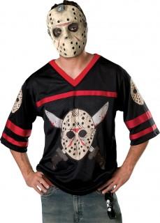 Jason™-Halloweenkostüm Shirt und Maske schwarz-beige