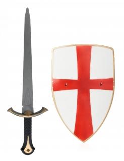 Ritterschwert und Schild für Kinder Spielzeugwaffe rot-silbern-golden