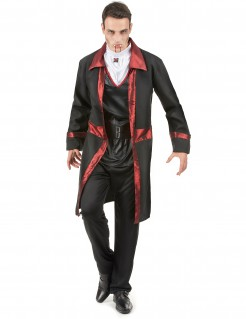 Blutdurstiger Vampir-Prinz Dracula Halloween Kostüm für Herren schwarz-rot-weiss