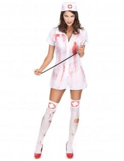 Psychopathische Krankenschwester Halloween Kostüm für Damen weiss-rot