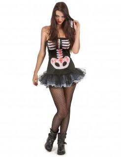 Sexy Skelettlady Halloweenkostüm für Damen schwarz-weiss
