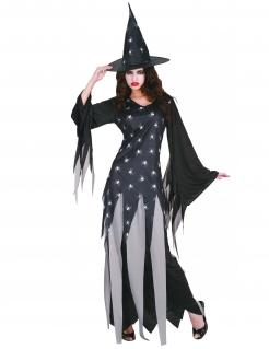 Düstere Spinnen-Hexe Halloween-Damenkostüm schwarz-grau