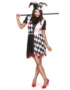 Verrücktes Horrorclown-Kostüm für Damen schwarz-weiss-rot