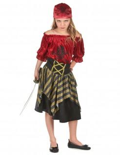 Freches Piratenkostüm für Mädchen rot-schwarz