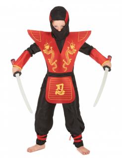 Kinder-Ninja-Kostüm Halloween-Kostüm für Kinder schwarz-rot-gelb