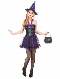 Schickes Hexenkostüm Halloween-Damenkostüm lila
