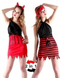Wendekostüm Halloween-Damenkostüm Teufelin und Piratin schwarz-rot