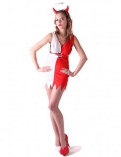 Teuflischer Engel Halloween Kostüm für Damen rot-weiss
