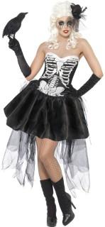 Gothic Skelett Lady Halloween Damenkostüm schwarz-weiss