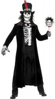 Skelettierter Voodoo-Priester Hexendoktor Halloween Kostüm für Herren schwarz-weiss