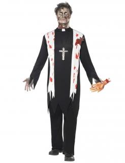 Horror Zombie Priester Pfarrer Halloween Kostüm schwarz-weiss-rot