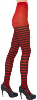 Damen-Strumpfhose Kostümzubehör gestreift schwarz-rot