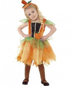 Kürbisfee-Kostüm für Mädchen grün-orange-schwarz