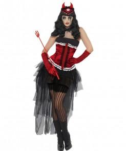 Satanische Diva Halloween Damenkostüm schwarz-rot