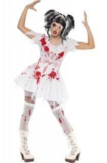 Horror Zombie Puppe Halloween Damenkostüm weiss-rot
