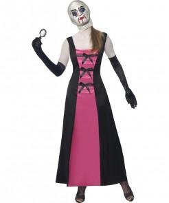Horror Gothic Puppe Halloween Damenkostüm pink-schwarz