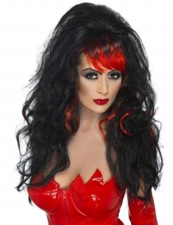 Teufelinnen-Lockenperücke Halloween schwarz-rot