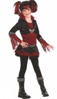 Vampirin-Kinderkostüm Halloween-Mädchenkostüm rot-schwarz
