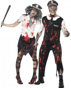 Zombie Polizisten Halloween Paarkostüm schwarz-weiss-rot