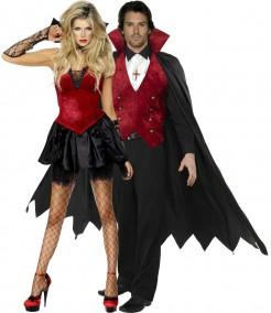Gothic edles Vampir und Braut Paarkostüm für Erwachsene schwarz-rot-weiss