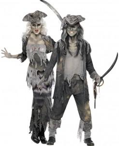 Halloween Zombie Geister-Piraten Paarkostüm grau