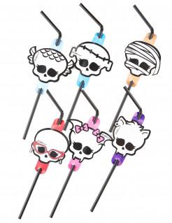 Trinkhalme Monster High Kindergeburtstag-Deko 8 Stück weiss-schwarz