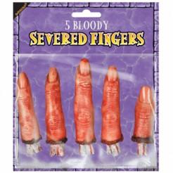 Abgeschnittene Finger Halloween Deko-Set 5-teilig haut-rot 8cm