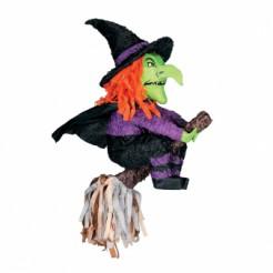 Pinata Halloween-Party Spiel und Deko Hexe auf Besen grün-lila-schwarz 60cm