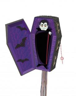 Halloween Piñata-Vampirsarg Partyzubehör schwarz-lila-weiss