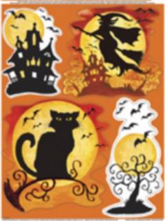 Halloween Fenster-Aufkleber mit 4 Motiven bunt