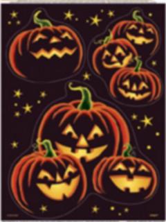 Halloween Kürbis-Aufkleber Fensterdeko schwarz-orange