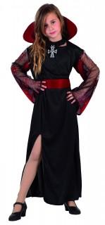 Edle Vampirlady Halloween Kinderkostüm schwarz-rot