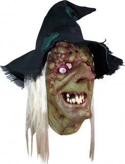 Pest-Hexe Halloween-Latexmaske mit Hut und Haaren grün-schwarz