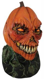 Monsterkürbis-Maske Dämonischer Kürbis-Latexmaske orange-grün-weiss