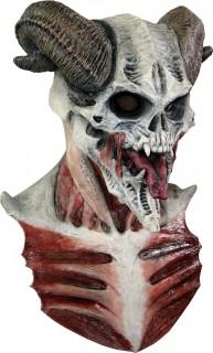 Skelett Maske teuflisch für Erwachsene Halloween weiss-rot-braun