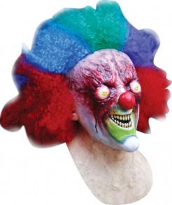 Zombie-Horrorclown MaskeMutantenclown-Latexmaske rot-bunt