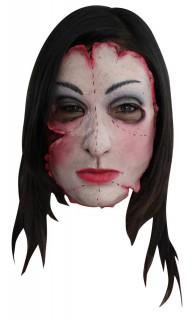 Serienkillerin Horror-Maske weiss-rot-schwarz