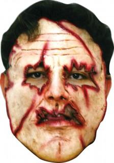 Irrer Psychokiller Halloween-Latexmaske beige-rot